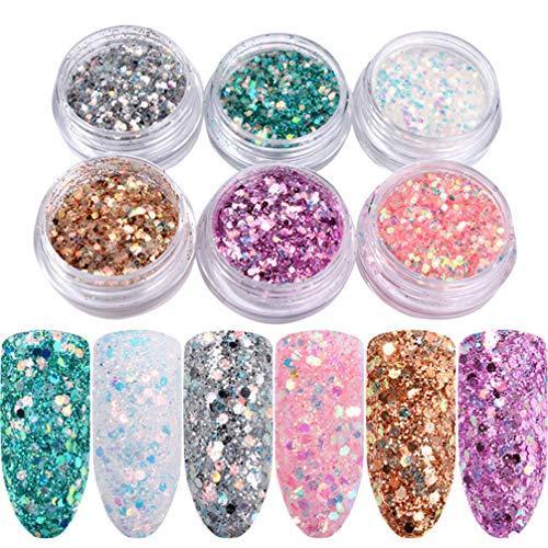 Frcolor 6 unids Nail Art Glitter Lentejuelas Brillantes Uñas Calcomanías de Decoración Paillette Face Body Decorations