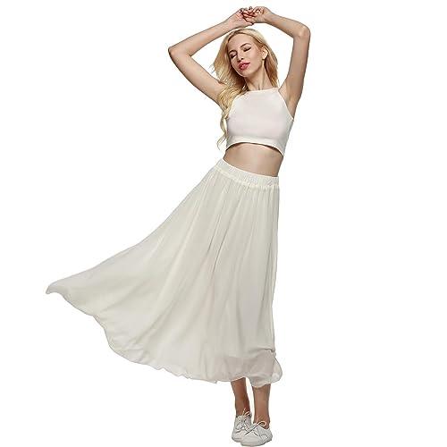 3104b065b2 Meaneor Women s Polka Dot Elastic High Waist Summer Chiffon Maxi Skirt