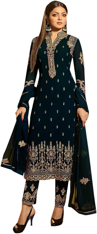Designer Eid Festival Collection bluee Straight Kameez Salwar festive party wear Muslim 2642 1