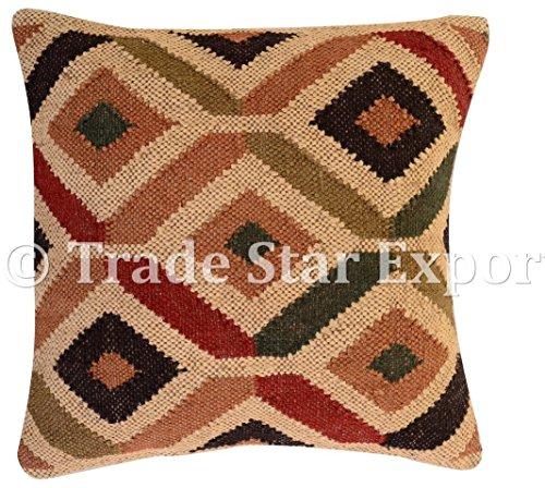 Tradestar - Funda de cojín de yute indio tejida a mano, almohada Kili