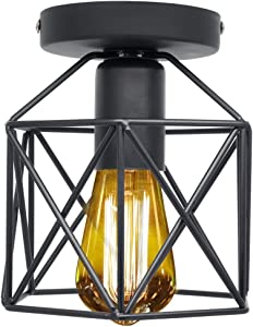 Retro Vintage Lámpara de techo, Industrial Luz de techo Metal Vintage iluminación Rústico Montaje semi empotrado Lámpara de techo Lámpara de E26/E27 Para Pasillo Porche Dormitorio Sala Cafetería Bar