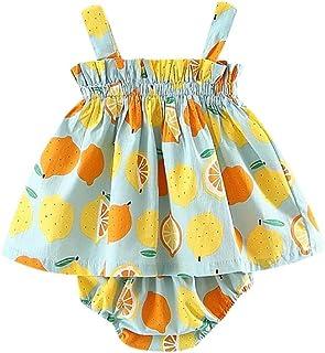 Vestidos para Bebe niñas Verano 2018 Fiestas Conjuntos de Sling Vestidos + Pantalones Cortos Impresion Limón Sin Tirantes Falda de 6 Meses 12 Meses 18 Meses 24 Meses