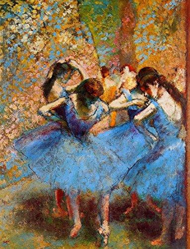 Impresión sobre lienzo–Canvas–Edgar Degas–Bailarinas en azul–(1890aprox)–50x 70cm–Sin Marco