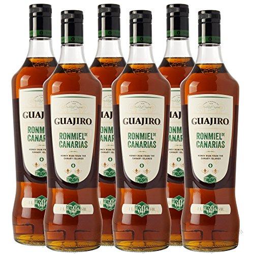 GUAJIRO Ron Miel Honig Rum 30% von den Kanaren Sparpaket 6 x 1 Liter