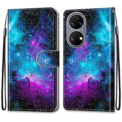 OATE Funda Adecuado para Huawei P50 Color Dibujo Carcasa de Tipo Libro con Ranuras para Tarjetas de Soporte Horizontal y Solapa Cierre Magnético Funda Billetera para Huawei P50 6.5' Cielo Estrellado