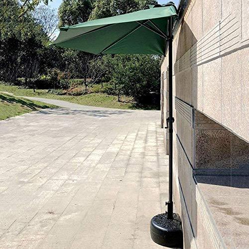 Sombrilla de Playa Grande antiviento Sombrillas 2,7 m (9 pies) Shade Balcón Patio Mitad Paraguas de Sun con manivela, Semi Circular Ronda Paraguas al Aire Libre for una pequeña terraza Jardín