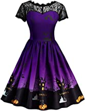 Aunimeifly Women Vintage Long Sleeve Dresses Evening Party Prom Gown Ladies Halloween Printed Bow Knot Dress