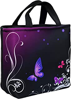 Lunch Bags For Women, Insulated Lunch Box, Neoprene Freezable Lunch Bag for Adult Large Cute Cooler Tote Reusable Lunch Pail Holder Leakproof with Zipper Office Picnic Outdoor (Purple Butterfly)
