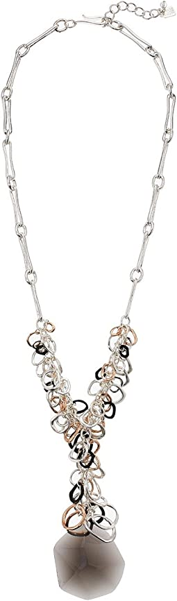 Robert Lee Morris Black Diamond and Tri-Tone Y Necklace