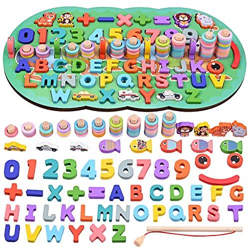 GOLDGE 6 en 1 Montessori Juguete Educativo, Juguetes de Madera Montessori Bebes Tablero, Juguetes de...