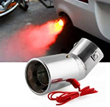 DSYCAR Universal Stainless Steel Car LED Exhaust Muffler Tip Pipe Red Light Flaming Tail Muffler - Fit Pipes Diameter 1.1-2.4 inch (Curved)