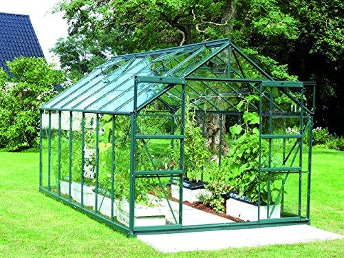 Gartenwelt Riegelsberger Gewächshaus Uranus - Ausführung: 11500 ESG 3 mm dunkelgrün, Fläche: ca. 11,5 m², mit 4 Dachfenster, Sockel: 2,54 x 4,41 m