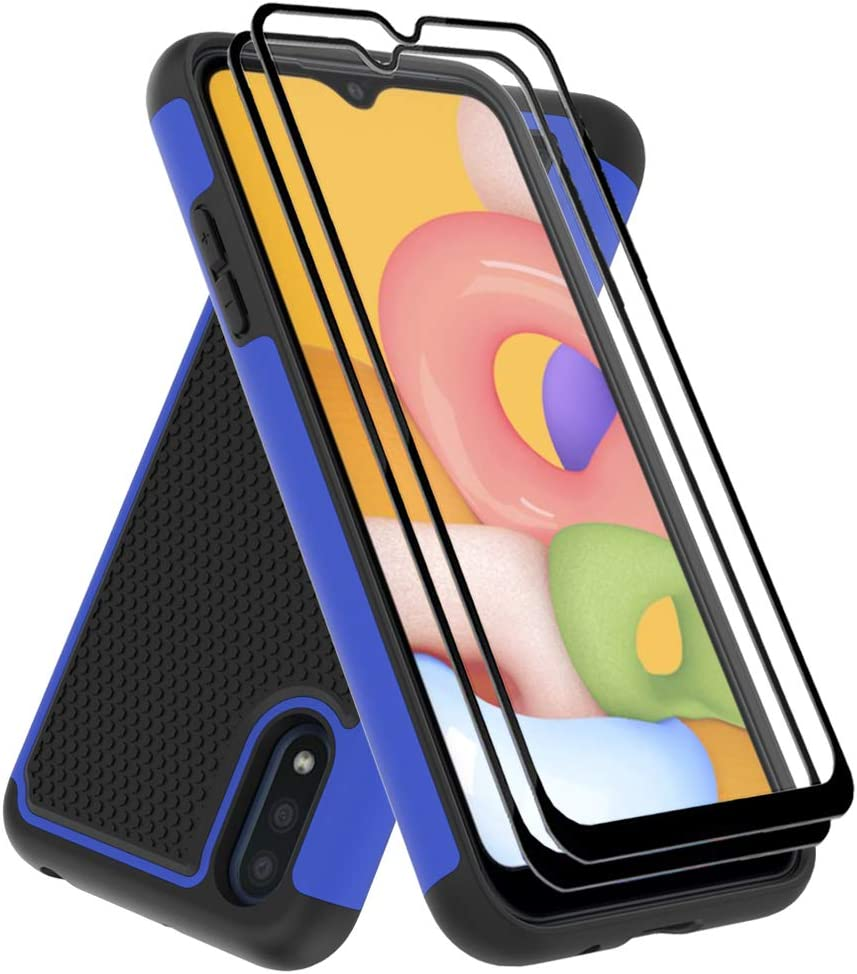 Dahkoiz Case Compatible for Samsung Galaxy A01 Case with Tempered Glass Screen Protector[2 Pack], Durable Defender Armor Cover Sturdy Protective Phone Cases for Galaxy A01, Blue