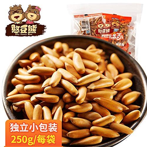 【Snack Foods, Snacks,憨豆熊 巴西松子250g手抓包】手剥松子坚果零食批发野生新货