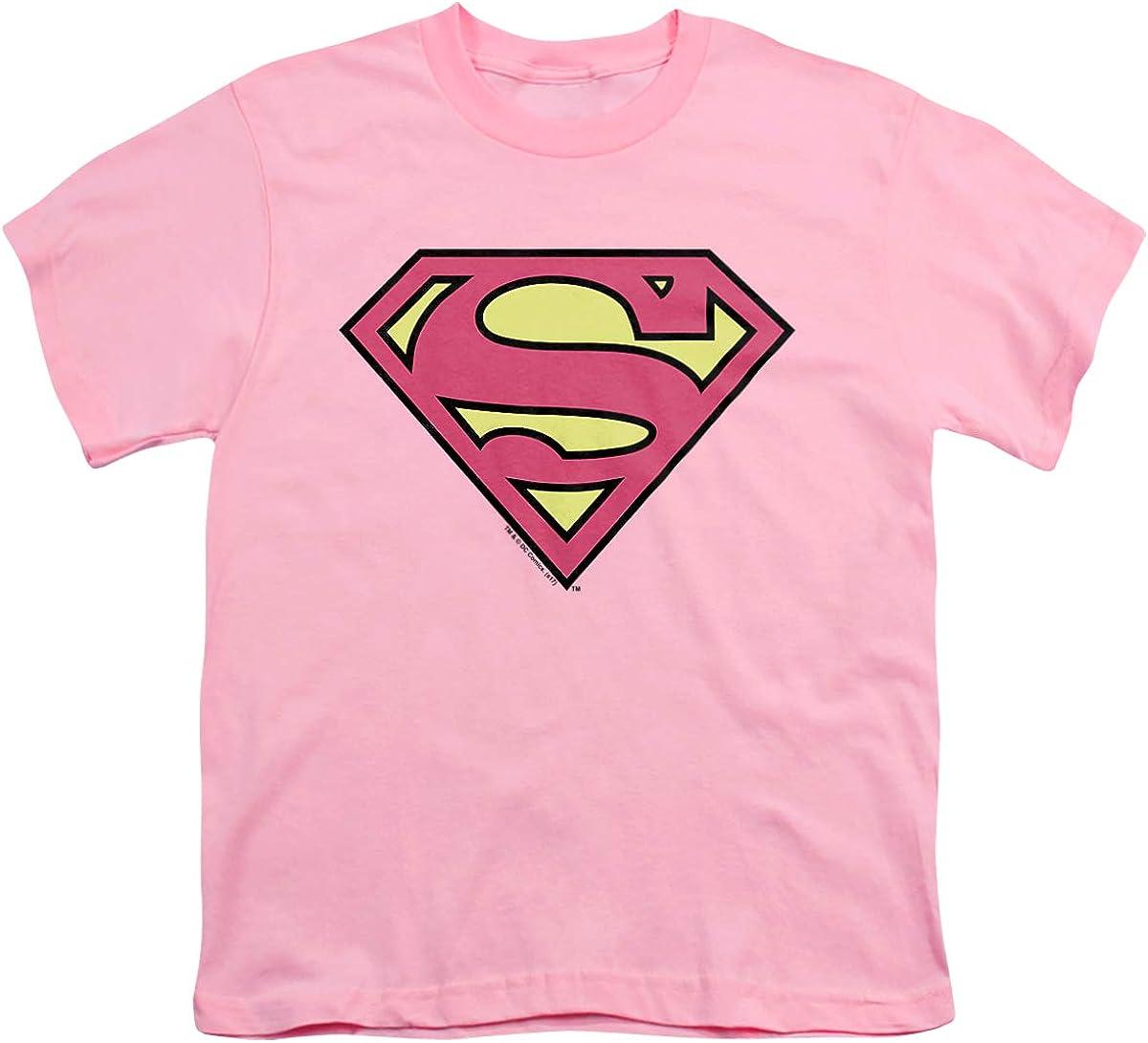 DC Superman Classic Logo Unisex Youth T Shirt, Pink, X-Large