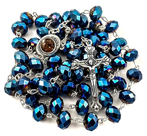 Nazareth Store New Catholic Deep Blue 10mm Large Crystal Beads Rosary Holy Soil Medal & Cross