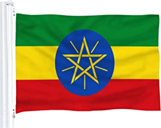 DFLIVE Ethiopia Country Flag 3x5 ft Printed Polyester Fly Ethiopia National Flag Banner with Brass Grommets