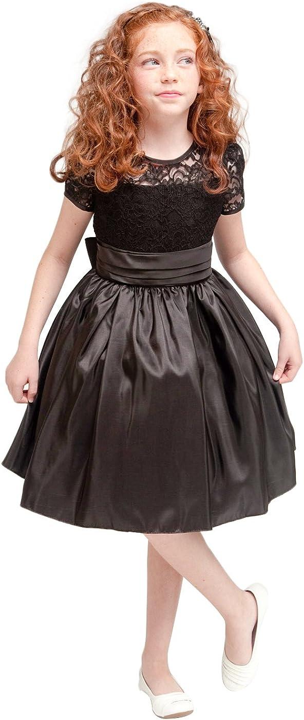 Efavormart Flower Girl Dress Lace and Glistening Taffeta Knee Length Dress Party Dress