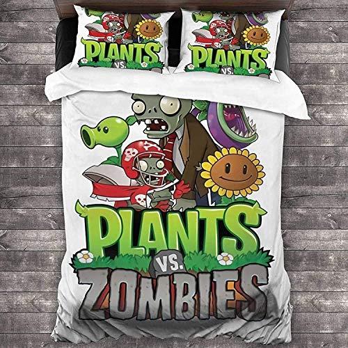 Plants vs. Zombies SPVZ7 - Juego de funda de edredón y 2 fundas de almohada (transpirable, 155 x 220 cm)