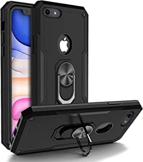 BGWIRELESS iPhone 7 Case/iPhone 8 Case Military Grade, With Ring Car Mount Kickstand 15ft Drop Tested Protective Case, Heavy Duty Military Grade Metal Dropproof Shockproof Dirtproof Waterpproof, Black