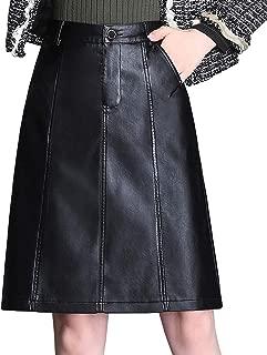 Women's Knee Length Leather Chic High Waist A Line Pencil Skirt