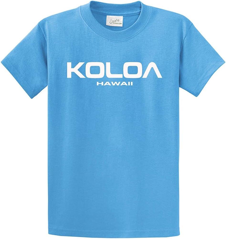 Joe's USA Koloa/Hawaii Text Logo T-Shirts in Size Large Tall - LT Aquatic Blue