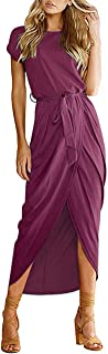 AUSELILY Women's Casual Summer Cap Short Sleeve Loose Slit Solid Party Long Maxi Dress with Belt