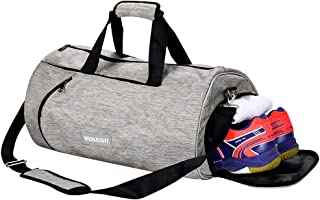 Fitness Sports Gym Bag with Shoes Compartment Waterproof Travel Duffle Bag (Small, Light Grey)