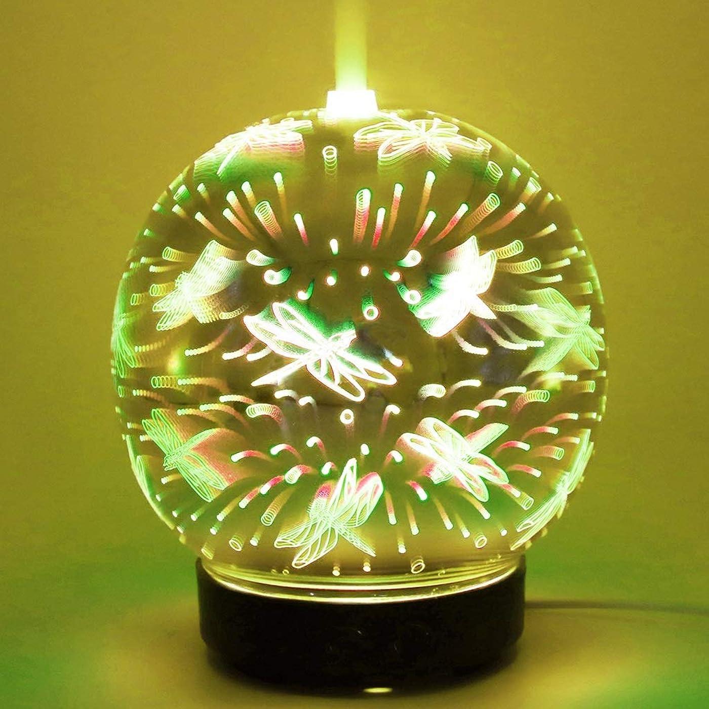 作曲家兵器庫ボンドリードディフューザー クリエイティブカラフルなラブアロマセラピーマシン家電木目超音波霧化3Dグラスアロマ加湿器アロマランプカラフルなサイレントスプレー YHDD (Color : J)