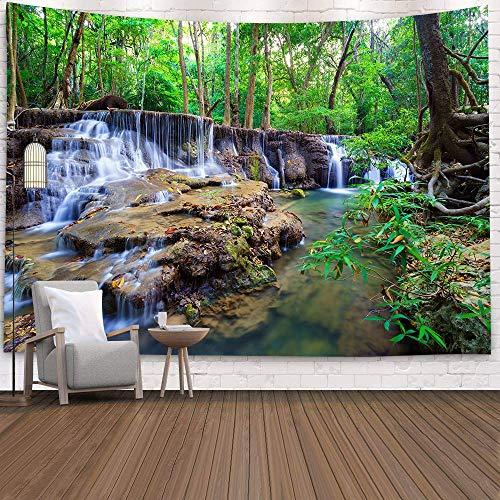 KHKJ Tapiz de Cascada 3D Natural Toalla de Playa Paisaje Bosque primitivo Impresión de Corriente Alfombra de Pared Arte del hogar Tapiz Decoración A12 200x180cm