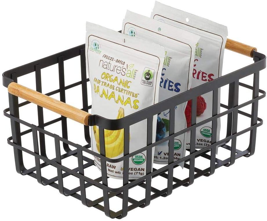 ufficio lavanderia Pratico organizer multiuso per la casa con manici in bamb/ù mDesign Cestino portaoggetti in metallo Porta oggetti aperto ideale per cucina dispensa bianco opaco bagno