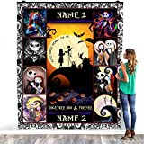 TEELESTO Personalized Custom Name Jack Skellington Sally Blanket Nightmare Before Christmas We are Simply Mean to Be Warm Bed Throws – Decorating Bedrooms Home Cozy Plush Fleece Blanket (50' x 60')