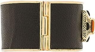 Art Deco Orange Crystal Blk Leather Goldtone Hinge Bracelet