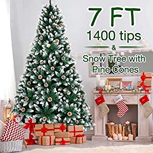 AerWo 7FT Artificial Christmas Tree, Flocked Snow Christmas Tree with Pine Cones Metal Stand for Festive Holiday Decor(1400 Tips)