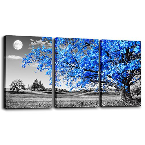 Wall Art For Living Room black and white Blue tree moon Canvas Wall Decor for Home artwork Painting 12' x 16' 3 Pieces Canvas Print For bedroom Decor Modern Salon kitchen office Hang a picture