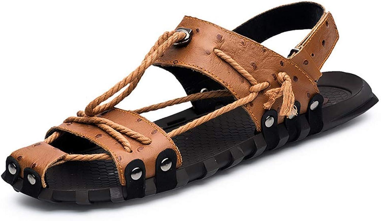 ZHRUI Men Leather Sandals Closed Toe Male Summer shoes Beach Flats (color   Brown, Size   8=42 EU)