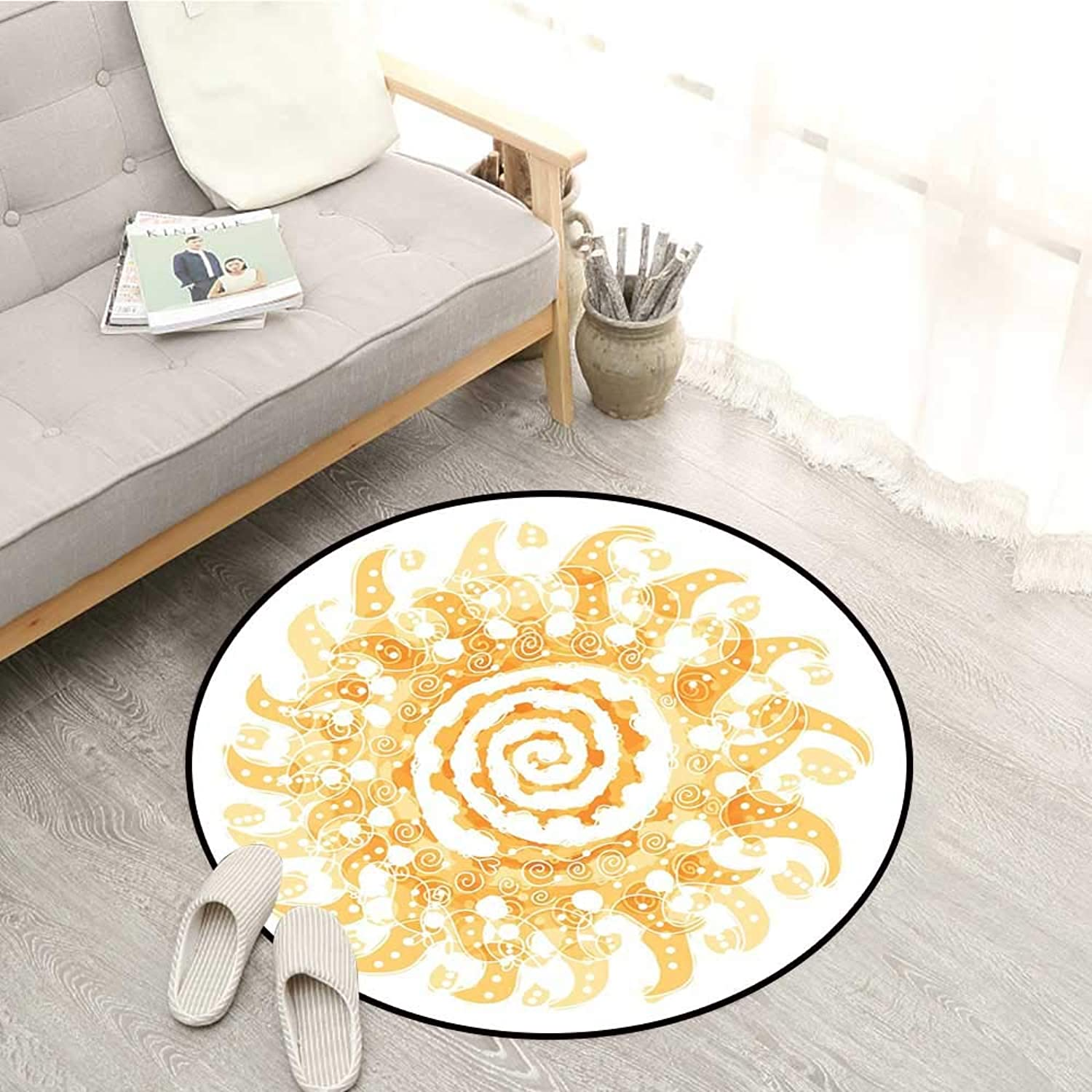 Abstract Kids Rugs Abstract Rendition of The Sun with Swirls and a Vortex in The Middle Energy Art Sofa Coffee Table Mat 4'3  Marigold