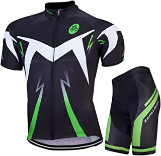 Men Breathable Quick Dry Comfortable Short Sleeve Jersey + Padded Shorts Cycling Clothing Set Cycling Wear Clothes