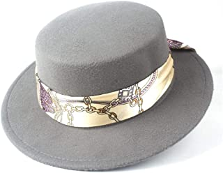 Pork Pie Hat Fedora Trilby Autumn Winter Flat Top Hat Men Women Panama Hat Outdoor Travel Casual Hat Jazz Fedora Hat Size 56-58CM (Color : Gray, Size : 56-58)