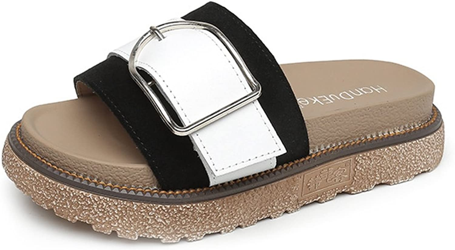 CYBLING Womens Slip On Slide Flat Sandals Platform Wedge Sandal shoes with Buckle Accent