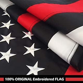 Thin Red Line Flag 3x5 Ft with Embroidered Stars, Sewn Stripes and Long Lasting Nylon, American Flag Black and White Honoring Firefighters and EMTs, US Flag Decor of Firefighter Flag