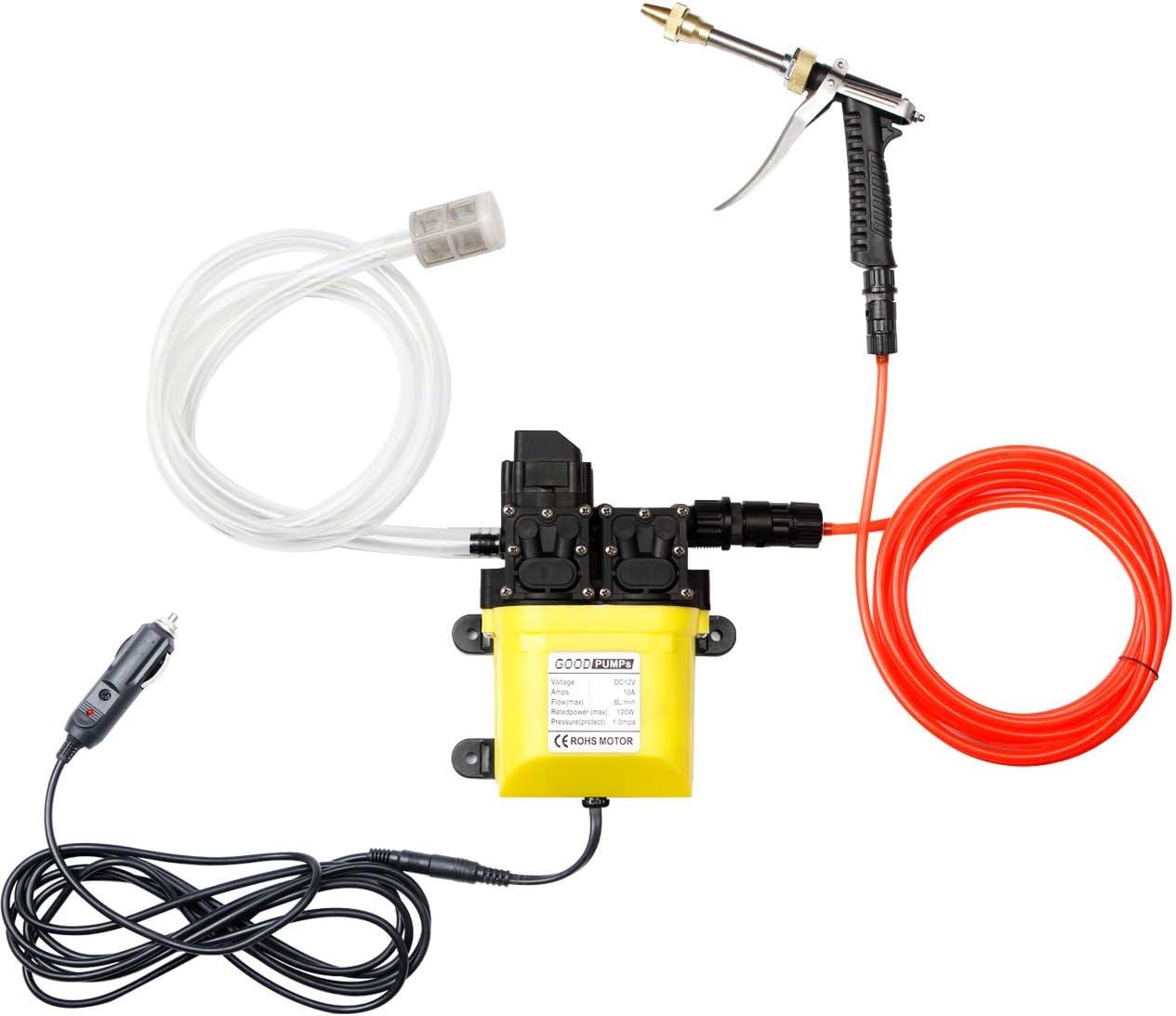 Bomba Lavadora eléctrica portátil: 120W 160 PSI 12V Kit Lavado a Alta presión Bomba de Agua para Limpieza automóviles con tubería de 6M para el hogar | Jardín | Vehículos | Proyectos | Puerta Ventana