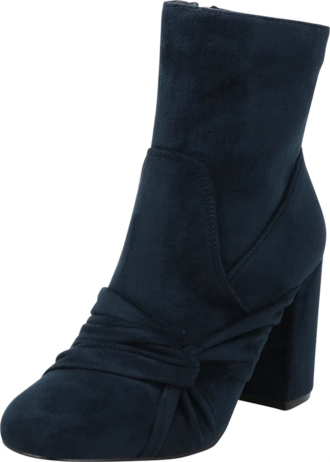 Cambridge Select Women's Closed Round Toe Twist Knot Bow Chunky Block High Heel Ankle Bootie
