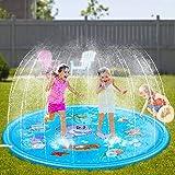 SeeKool Splash Pad, Aspersor de Juego, 170cm Almohadilla de Aspersión para Niños de Verano al Aire Libre para Actividades Familiares Aire Libre Fiesta Jardín, PVC Respetuoso con el Medio Ambiente