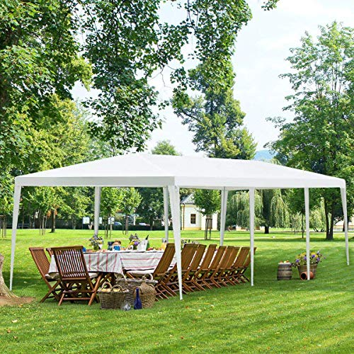 Tangkula 10' x 30' Outdoor Waterproof Gazebo Canopy Tent, Heavy Duty Large Pavilion W/Strong Connection Stakes and Ropes for Party Wedding Events Beach BBQ, Easy to Assemble (White)