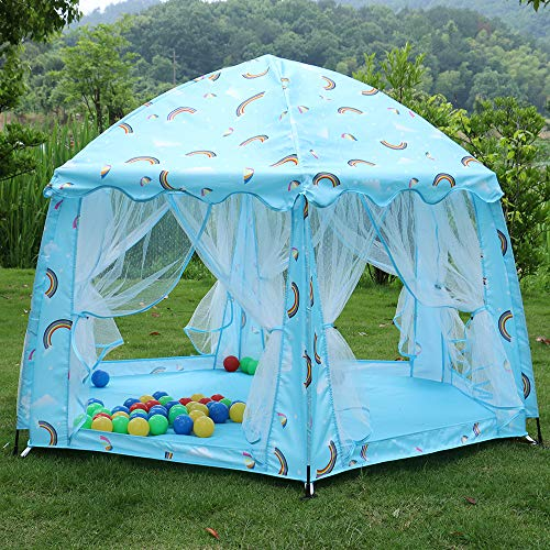 Baby Bed Canopy Kids Tent, Princess Automatic Shelf Play Tent, Round Play Tent for Bedroom Decoration, Study Reading Corner, Indoor Playing - Best Gift for Kids (Blue)