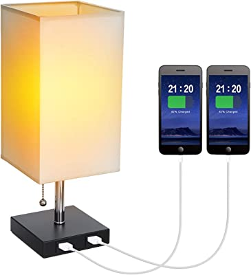 Tomshin-e USB Bedside Table Lamp with Pull Chain Switch Modern Nightstand Lights Square Fabric Shade with 2 USB Charging Port for Bedroom Lounge Office