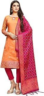 EthnicJunction Women's Chanderi Silk Jacquard Unstiched Dress Material With Banarasi Dupatta