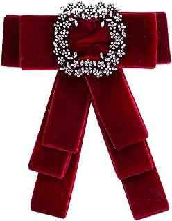 TENDYCOCO Broche de Diamantes de Imitaci/ón para Mujer Alfileres de Solapa de Cinta Roja Pines de Lazo Rojo Diamantes de Imitaci/ón Diamantes de Imitaci/ón Encanto de C/áncer de Mama Broche de Tela