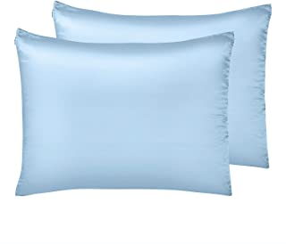 """IUNIQEE Satin Pillowcase, Set of 2 Super Soft Luxury Anti Wrinkle Silky Pillow Cases with Hidden Zipper for Hair and Skin (Light Blue, Standard 20""""x26"""")"""
